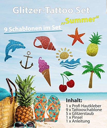 Glitzer Tattoo Sommer Set mit Profikleber, 1x Pinsel, 5x Glitzer, 9x Tattooschablone -