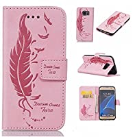 Galaxy S7 Edge Case Cover [with Free Tempered Glass Screen Protector], KKEIKO® Galaxy S7 Edge Wallet Case, Durable Leather Flip Cover Card Holder Case, Wallet Book Style Holster Case with Shock Absorber Cover for Samsung Galaxy S7 Edge (Pink)