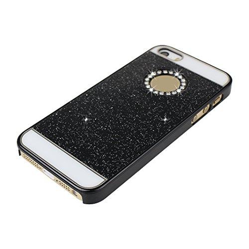 iPhone 5S Hülle Glitzer, Rosa Schleife Ultra Dünn PC Hart Cases BackCover Crystal Glitzer Schutzhülle Handyhülle Bumper Schale für iPhone SE / 5S / 5 Schwarz