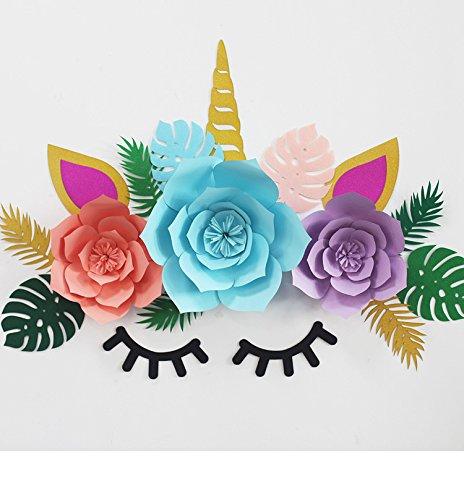 JUN, Einhorn-Motive, Wimpern, Pfingstrose, Blumenset mit tropischen Palmenblättern, DIY Einhorn, Wanddekoration Hintergrund für Geburtstag, Party, Babyparty, Dekoration, Mädchen Zimmer Wandaufkleber