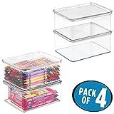 mDesign 4er-Set Aufbewahrungsbox mit Deckel – stapelbare Box fürs Kinderzimmer – praktische Spielzeugaufbewahrung aus Kunststoff – durchsichtig