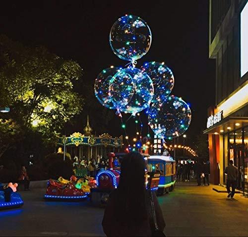 LED Burbuja Globos,Iluminación Decoraciones de cumpleaños Globos de Fiesta Holiday Romance Luz Recargable En la Oscuridad Ultra Delgado Redonda Globos de látex(10 Piezas)-A