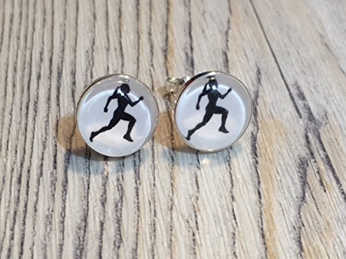 Laufen Running Jogging 925 Sterling Silber 10mm Ohrringe Ohrstecker (Laufen Schmuck)