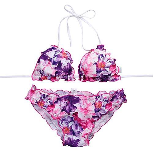 Levifun bikini set, sexy donne stampa floreale vita alta costume da bagno stampa del punto d'onda costumi da bagno imbottito benda push-up mare mutande reggiseno swimwear