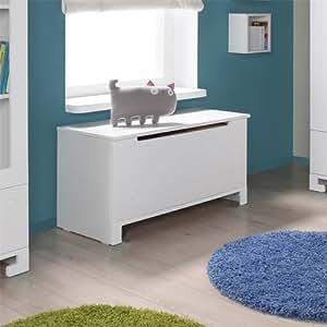 LOUNGE-ZONE Coffre à jouets Toybox Coffre Boîte de conservation Mini bois massif PIN PARASOL MDF blanc 7691