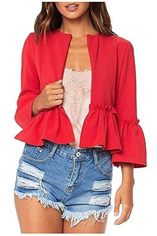Issza Wonmen's Autumn Ruffle 3/4 Sleeve Open Front Jacket Short Blazer Office Outwear Cardigan