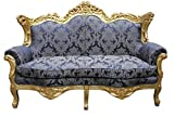 Casa Padrino Barock Wohnzimmer Set Royal Blau Muster/ Gold – 3er Sofa+2er Sofa + 1 Sessel - 3