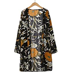 LANSKIRT Cardigans de Encaje de Mujer Abrigo Informal con Capa Abierta de Estampado Floral Blusa Suelta Kimono Chaqueta Blusa con Estampado Floral De Mujer Blusa Larga De Manga