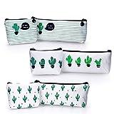 YOUSHARES 6 Packungen Kaktus Mäppchen, Segeltuchbleistiftbeutel für Bleistifte und Stifte oder kleine Make-up