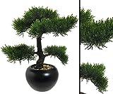Kunstbaum Tisch Bonsai Zeder mit 37cm in Keramiktopf - künstliche Bonsai Pflanzen Kunstpflanzen Dekopflanzen asiatische Dekoration Thai Deko China Dekorationen </p> -> großes Kunstpflanzen Sortiment