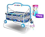 #5: Akshat Stroller Cradle Baby bed with swing feature for babies up to 18 months and Free Kids Feeding Bottle
