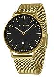 FIREFOX Damenuhr Herren- Armbanduhr PASSION analog Quarz Edelstahl vergoldet Milanaise Mesh Armband Zifferblatt schwarz 5 ATM wasserdicht FFPL02-041