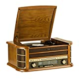 SHUMAN 7 IN 1 Holz Musikanlage ,Plattenspieler , CD-Player ,MP3- Player, Kabellos,USBPort,FM Radio-Tuner, Kassettenspieler,Cinch-Ausgang ,Mit Fernbedienung (MC250BT)