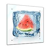 Memoboard Glasboard Glastafel Magnettafel Memotafel Pinnwand Schreibtafel 40 x 40 cm - Eiswürfel Melone - Essen & Trinken - Frucht - Früchte - Obst - Obstbild - Melone im Eiwürfel - Eis - Wasser - Küche - Küchenbild - Esszimmer - Motiv - Design