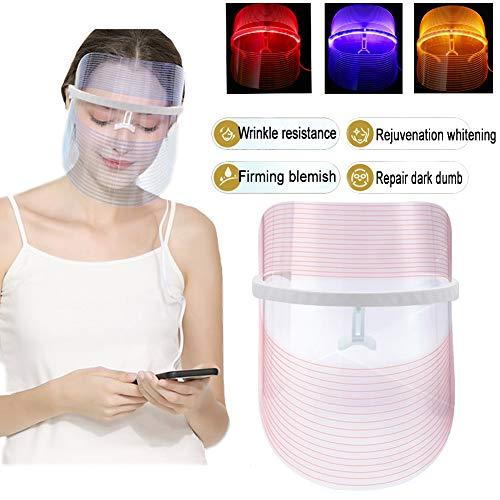 3 Farben LED Gesichtsmaske Photonen-Therapie Hautverjüngungs Lichttherapie Maske,Anti Falten Whitening Akne EntfernungMaske,LED Gesichtsmaske, Schönheit Gesichtspflege