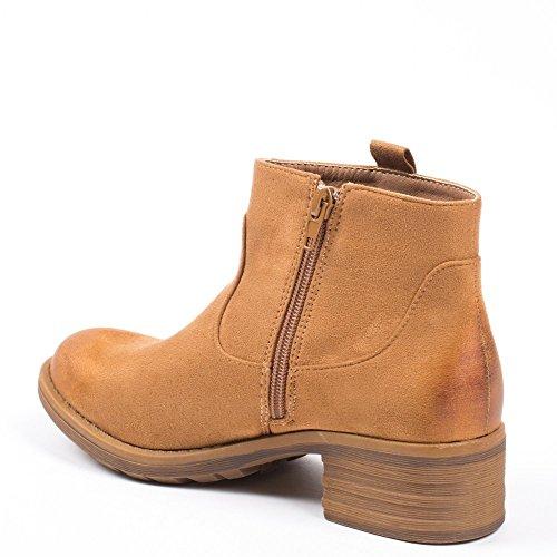 Ideal Shoes - Bottines effet daim avec partie ajourée Daila Camel