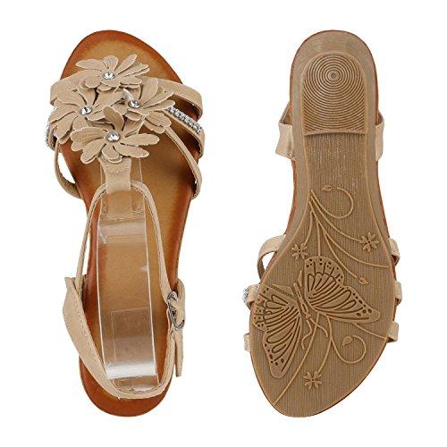 Damen Keilsandaletten Glitzer | Sandaletten Denim Bast Leder-Optik | Blumen Keilabsatz Sandalen | Metallic Wedges Strass Creme Autol