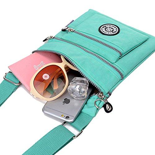 Supamodern tracolla in nylon impermeabile per donne a tracolla iPad bag Phone bag leggero sacchetto esterno al giorno per donne, donna, Purple Red, S Purple