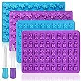 YuCool - Set di 4 stampi in silicone antiaderenti per alimenti, per caramelle, cioccolatini, gelatine, cubetti di ghiaccio con 2 contagocce, colore: viola, blu