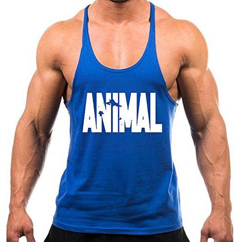 Volon Tanktop Herren Fitness Unterhemd Tankshirt Animal Tops Sport Shirt Trägershirt Sommer Männer Bodybuilding Oberteile Tank Gym Baumwolle,M,Blau (Animal Fitness)