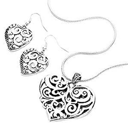 Rosemarie Kollektionen Damen Filigranes Herz Anhänger Halskette und Ohrringe Silber Farbe Set (Jane Seymour Offenen Herzen Schmuck)