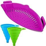 165/5000 Colador de silicona Snap con 2 embudos plegables, FineGood Colgante a prueba de calor con clip de manos libres Tazón de la Olla Pan - Púrpura
