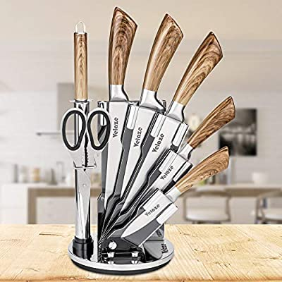 Velaze - Knife Block Sets, 8-Piece Stainless Steel Kitchen Set