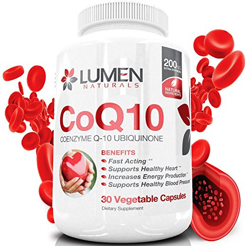 CoQ10 Coenzym Q10 200mg - eine Schnelle Active Extra Starke Coenzym Q10 - Ubichinon Ergänzung zeigt eine fördernde Wirkung auf die Gesundheit des Herzens & der Energie der Zelle & Ausdauer zur Bekämpfung der Müdigkeit & unterstützt einen gesunden Blutdruck - 30 Kapseln.
