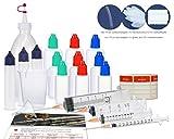 E-Liquid Misch-Set, Starter Set für E-Zigaretten mit Mischflasche, Liquidflaschen, Dosierspritzen, Messbecher und Trichter zum Mischen, Mixen von E-Liquid