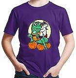 HARIZ  Jungen T-Shirt Einhorn Reitet Dinosaurier Halloween Kostüm Horror Umhang Inkl. Geschenk...