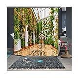 Amody Duschvorhang Blumen Blätter auf der Wand Badezimmervorhang Durable Wasservorhang Set Multicolor 120x180cm