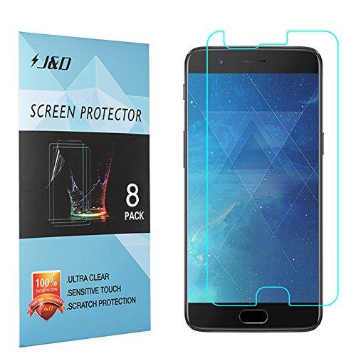 J und D Kompatibel für 8er Set OnePlus 5 Bildschirm Schutzfolie, [Nicht Ganze Deckung] Premium HD-Clear Schutzfolie für OnePlus 5