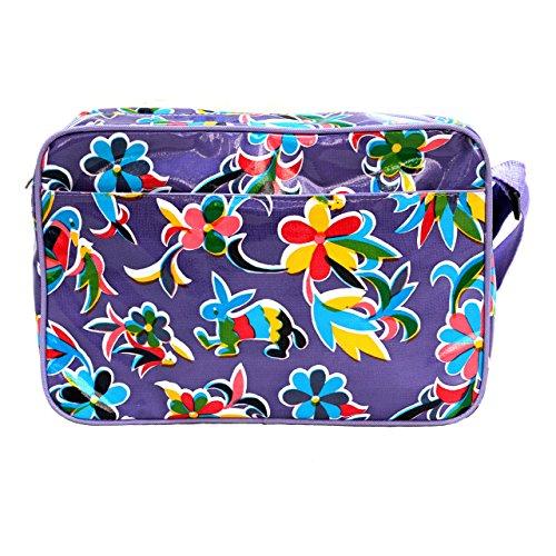 IKURI Handtasche - Tasche Für Frauen Umhängetasche Wasserdicht Messenger bag Schultertasche aus Wachstuch - Design Oaxaca in Lila (Schicke - Messenger)