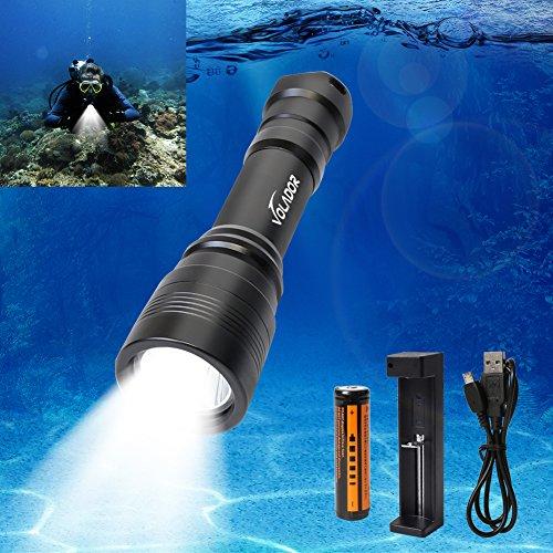 Volador 1000 Lumen Tauchen Taschenlampe Wiederaufladbare Unterwasser Taschenlampe 150 Meter Tauchscheinwerfer mit 1x 18650 Akku und Ladeger?t