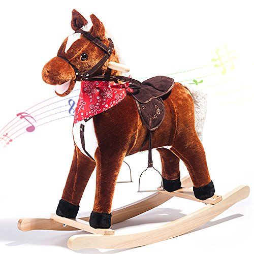 Kids Plush Rocking Horse Rocking Horse with Sound Rocking toys for Kids Handle Grip Traditional Toy Fun Gift,LIFE CARVER 51 2BVwUjM4ML