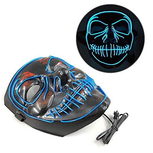 Adminitto88 Masken Für Erwachsene LED Grimasse Horror Leuchtende Maske Kaltes Licht Halloween Ghost Dance Mit Flash-Blut Maske Für Dance Party (ohne Batterie) (Dance Flash Halloween)