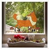 Wandmotive.de Fensterbild Fuchs - Lichtdurchlässige Statische Folie - Wiederverwendbar - 55 cm x 40 cm