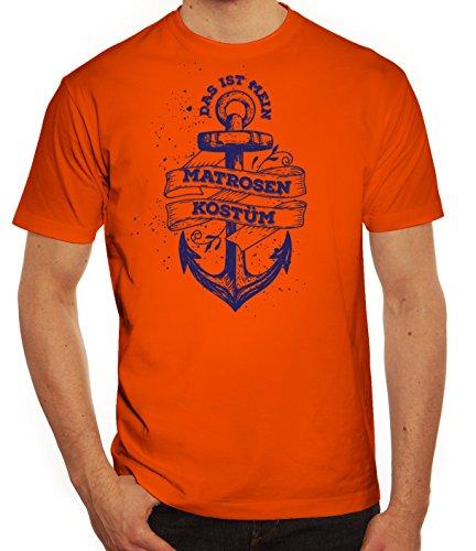 Fasching Karneval Herren T-Shirt mit Das ist mein Matrosen Kostüm 1 Motiv von ShirtStreet Orange
