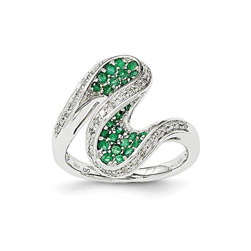 Diamond2Deal Damen-Verlobungsring 14K Weißgold Smaragd und Diamant Swirl Ring (1.01ct) (Verlobungsring Swirl)