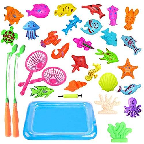JIM\'S STORE Kinder Badewannenspielzeug Magnet Baby Angelspiel Wasserspiel Badewanne Fisch Lernspiel Outdoor Spaß Mit Aufblasbarer Fischteich und Faltbare Angelrute