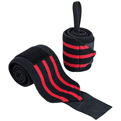 Ultrasport Handgelenkbandage, 2 Stück, schwarz/rot, Unisex Handbandagen für Bodybuilding, Kraftsport, Powerlifting oder CrossFit