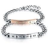 Bijoux Fantaisie Bracelet Couple Amour Acier Inoxydable Femme Homme Amoureux Chaîne de Main Cadeau Saint Valentin Gourmette Promesse