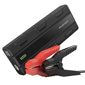 Démarreur de Voiture 14000mAh 1000A RAVPower, Jump Starter et Booster Batterie (1 Port Quick Charge 3.0 et 2 Ports iSmart, Lampe Torche de Secours) pour Véhicules Disel ou Essence 7L avec Batterie 12V