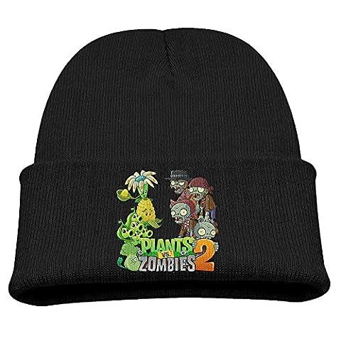 kgg-99g plants VS. Zombies Bonnet Fashion pour enfants skullies en tricot chapeaux bouchons crâne - noir - Taille Unique