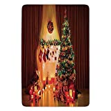 ERCGY Bathroom Bath Rug Kitchen Floor Mat Carpet,Christmas Decorations,New Year in House with Lights and Decorative Objects Peaceful Place Photo,Multi,Flannel Microfiber Non-Slip Soft Absorbent