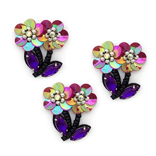 Doppio Flower Bead e paillettes Cucire pezzi speciali - viola e rosa - Confezione da 3
