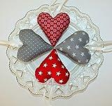 4 Herzen aus Stoff grau-rot *Tilda*Deko*Stoffherzen*Landhaus*Frühlingsdeko