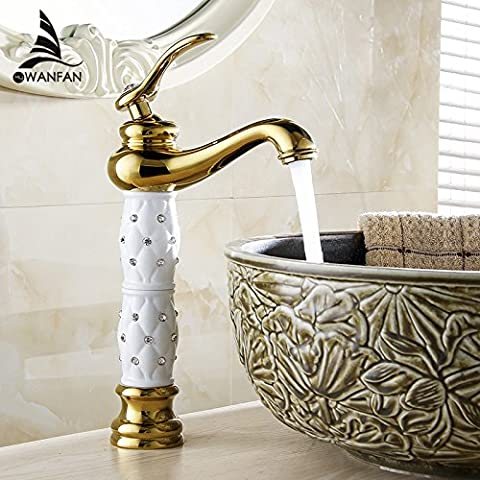 TougMoo Nice New Euro Gold Finish Luxury Tall High Bathroom Basin Faucet Single Handle Vanity Sink Mixer Water Tap 814K,Golden