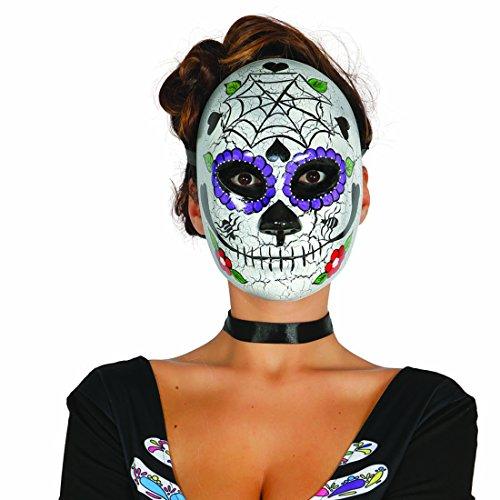 NET TOYS Mexikanische Totenmaske Sugar Skull Maske Motiv Mann La Catrina Todesmaske Halloween Totenkopfmaske Tag der Toten Gesichtsmaske Dia de los Muertos Mexican Skull Calavera