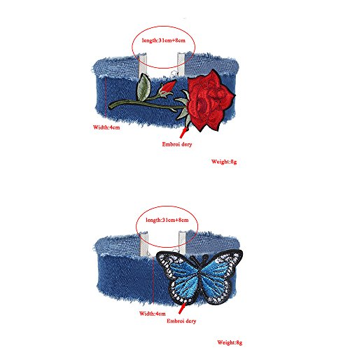 MingJun 2Pieces gestickte rote Rosen-Schmetterlings-handgemachte blaue Denim-Choker-Halskette justierbar für Frauen-Mädchen-Teens 90s (Rosen Rote Gestickte)